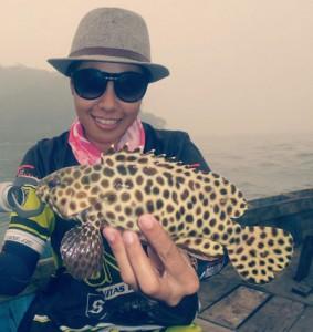 Belakangan ini Icha mulai tertarik untuk mancing di spot-spot air asin (saltwater) di sekitar Kalimantan.